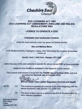 We have a Zoo Licence