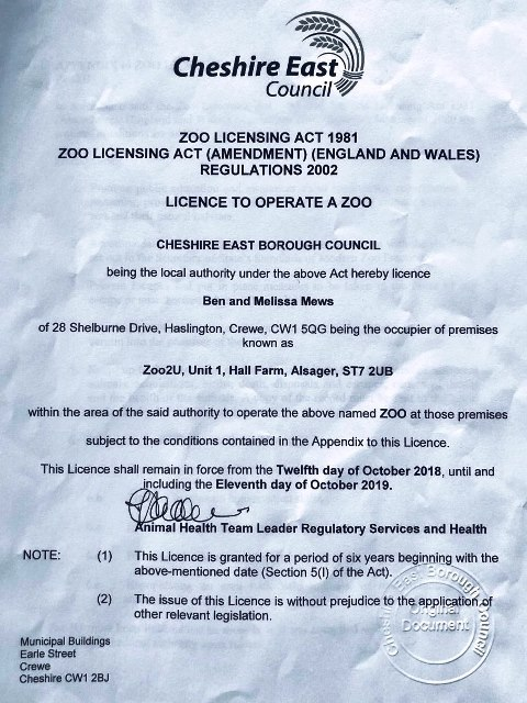 Zoo2U licence to Operate a Zoo